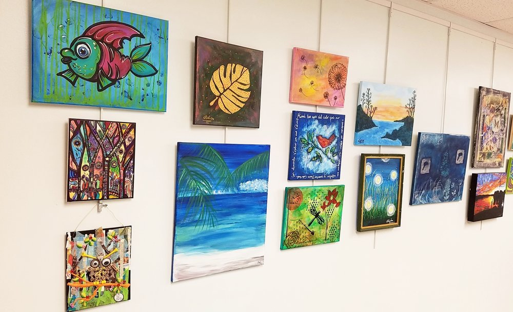 Sneak Peek of artworks by TRAX Art Studios students and class sample paintings for teacher follow alongs.