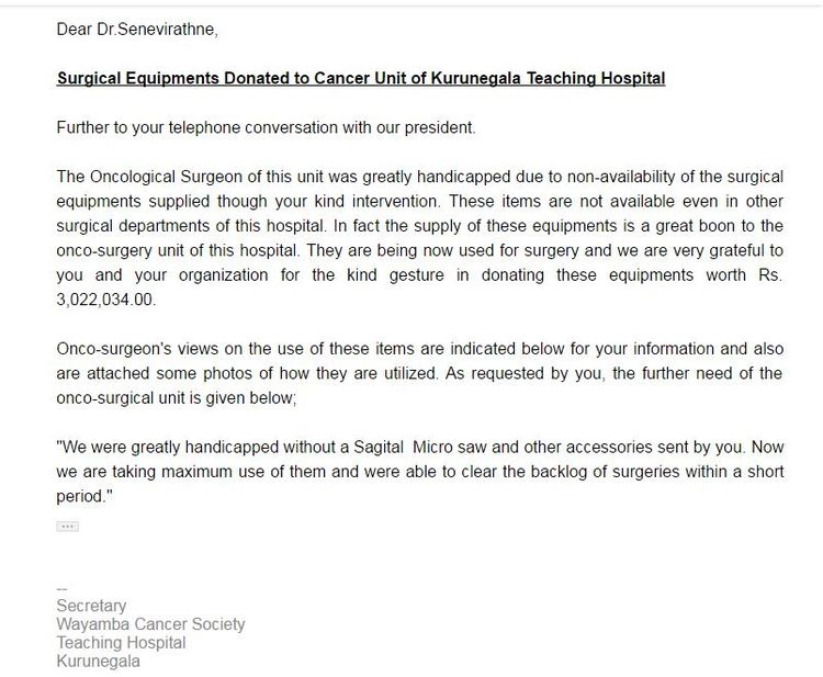 A letter of gratitude from the Kurunegala Cancer Hospital