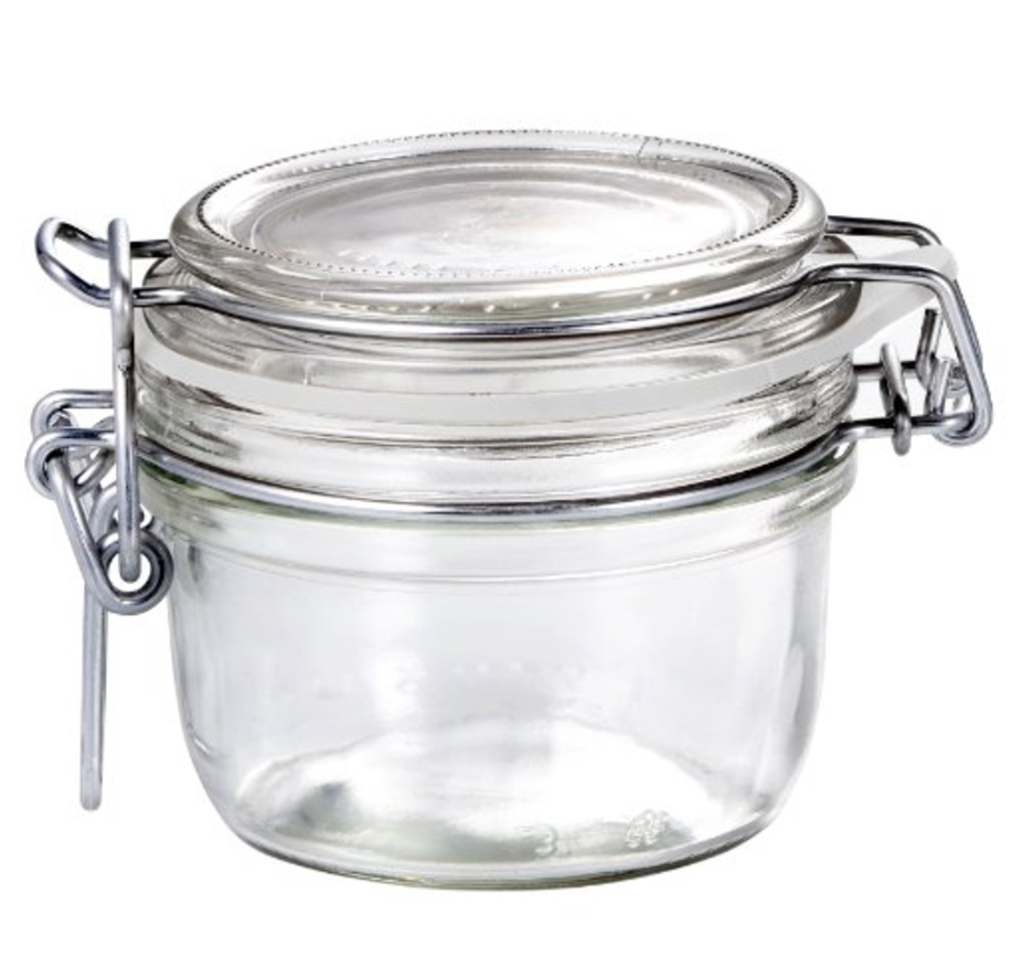 Glass air tight recyclable jars for use with cosmetics/skincare.