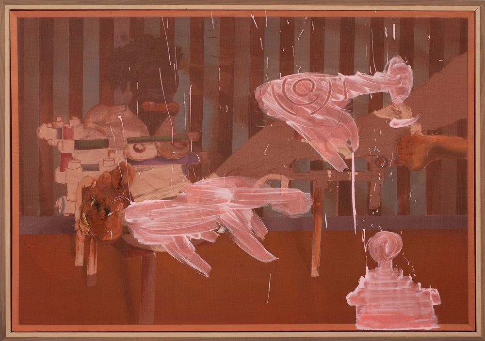 """Whip,  2016                                Oil on linen, acrylic on silk, walnut and maple frame  33"""" x 46"""""""