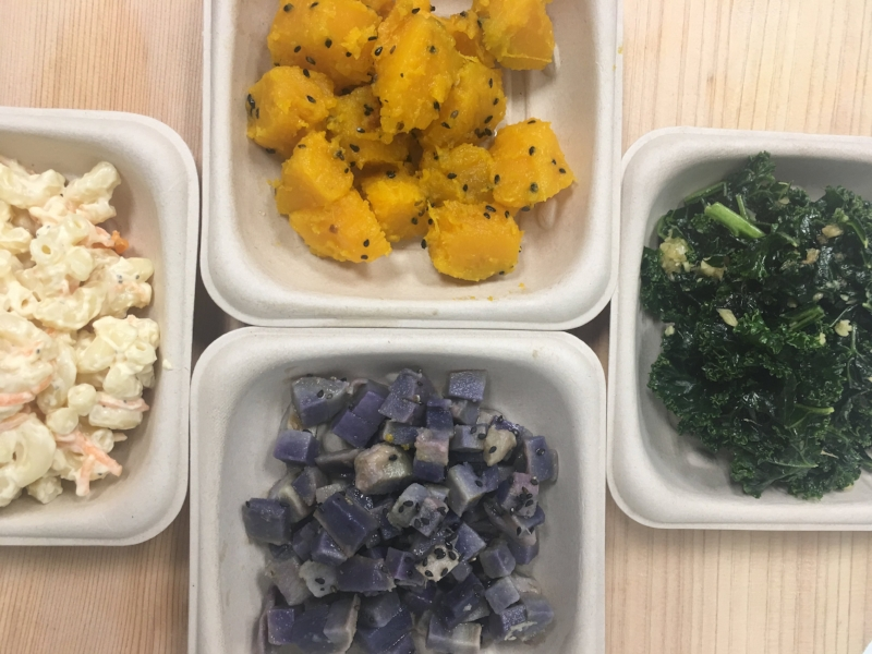 New fall sides! (Clockwise from the top: roasted kabocha, miso kale, roasted ube, macaroni salad)