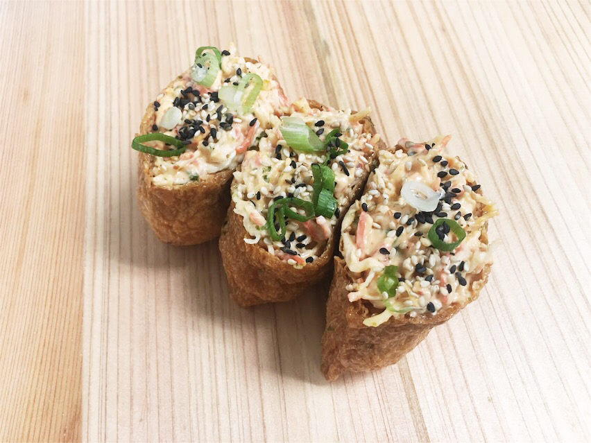 Inari Bombs: New this month Spicy Crab Bombs (imitation crab)