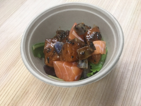 October poke special: Black Garlic Shoyu Poke.  Photo only shows poke. This is not a complete bowl with base or sides.