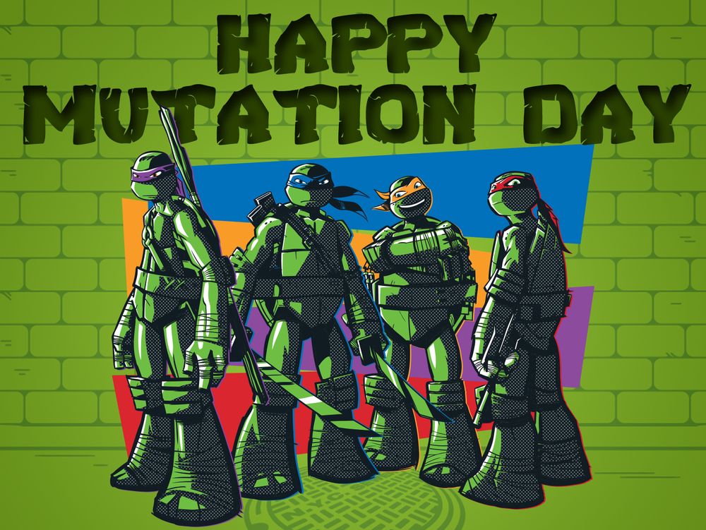 "Twitter/Tumblr asset for ""Mutation Day"" (the day Splinter found the Turtles. Highest engaged post of the month."