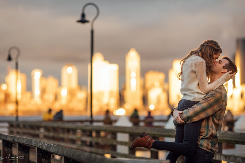 Sharing a romantic moment in a Seattle Engagement Photos by http://www.alantephotography.com