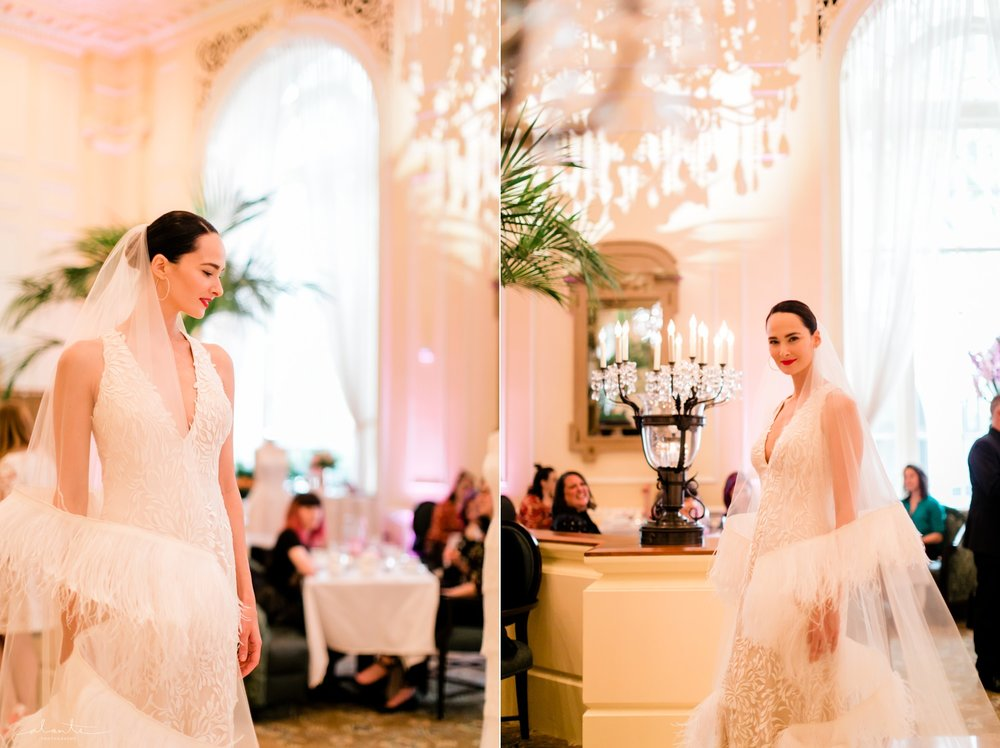 Ostrich feather bridal veil by Luly Yang