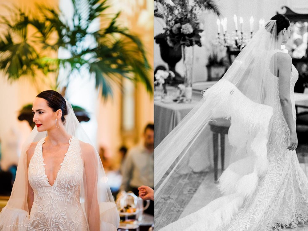 Dramatic wedding veil by Luly Yang Couture
