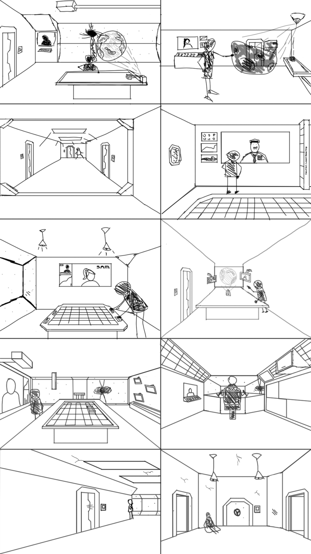 I wanted to do a variety of different versions of how the room or area would lay out. The briefing room has several key points that I tried to vary between all of the iterations of the area. A holographic table is one of the key aspects and so in most of the sketches it makes an appearance with a variety of different methods of projection. Sometimes its like a projector forming in mid air, sometimes it forms from the light of the table below it. Additionally I didn't want walls to be completely clear so I tried to add wedges, consoles, columns, and windows to make even the the walls interesting. At the same time in the windows I didn't want it to be dead space or a generic star field so I instead decided to try to add an interesting black hole as something to grab attention. I also wanted to think about other other locations that could potentially be the focus of this piece and so I tried a corridor, an airlock and the cockpit of the ship.