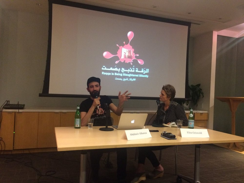Abdel-Aziz al-Hamza, the co-founder of the Syrian activist group Raqqa is Being Slaughtered Silently, in conversation with American poet and journalist Eliza Griswold in October 2016.