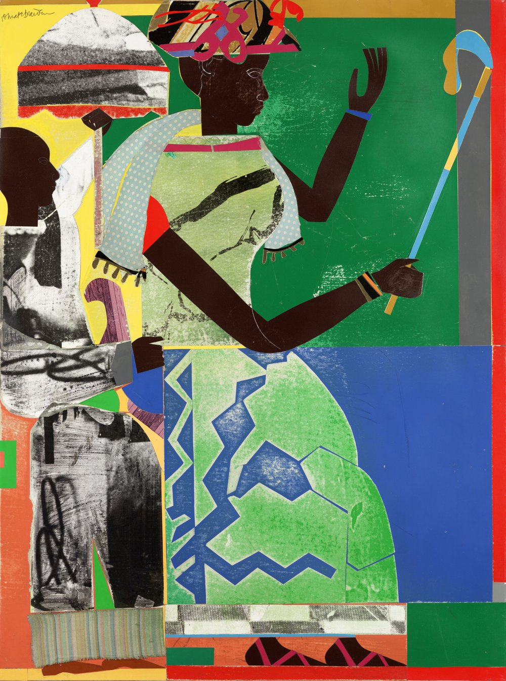 Sha-Ba, 1970. Collage on paper, cloth and synthetic polymer paint on composition board, 48 x 35 7/8 in. (122 x 91.2 cm). Photography credit: Allen Phillips/Wadsworth Atheneum. Wadsworth Atheneum Museum of Art, Hartford, Connecticut. The Ella Gallup Sumner and Mary Catlin Sumner Collection Fund, 1971.12.