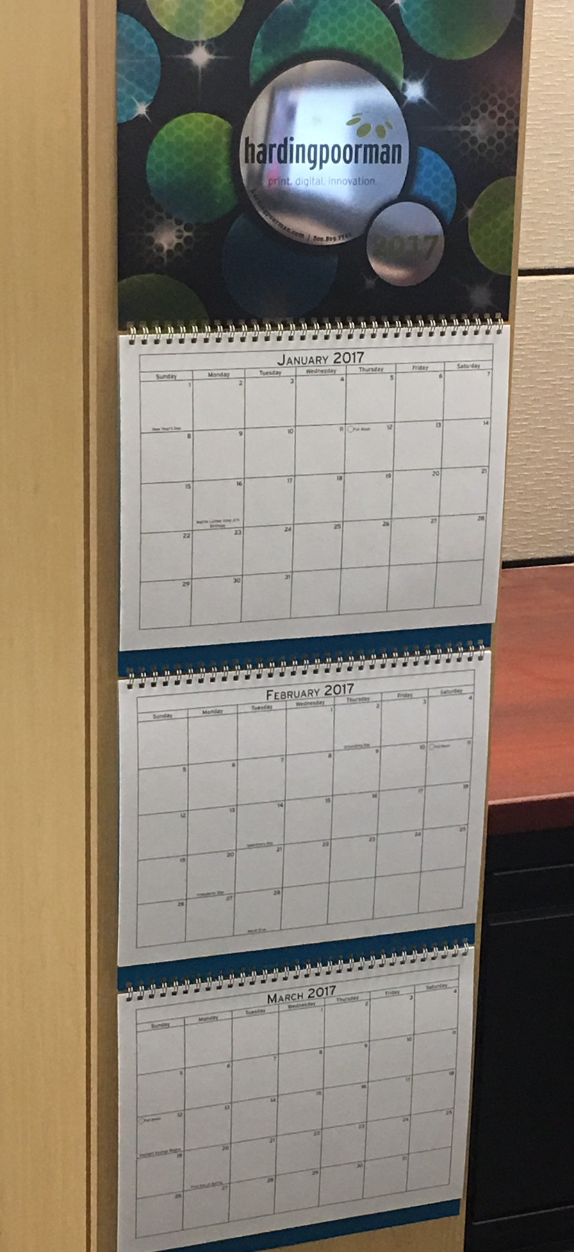 2017 HardingPoorman Calendar printed on Krystal Krome