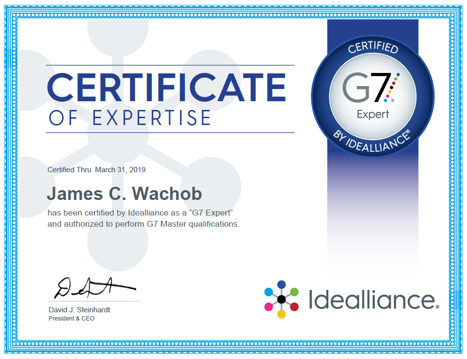 James Wachob Receives G7 Expert Certification — HardingPoorman