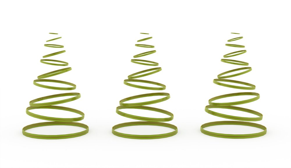 Christmas tree rendered on white background