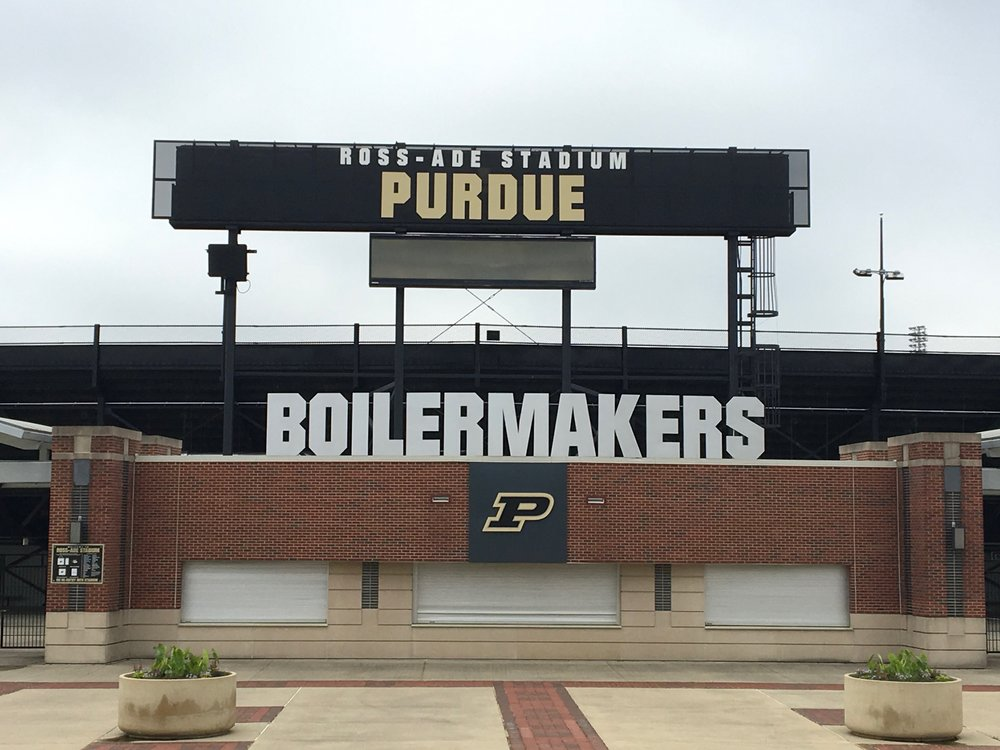 AFTER - LARGE fabricated lettering selected to make impact upon fan arrival. All production elements remain consistent with Purdue's brand; now proudly welcoming fans with exact colors, fonts, and logo.