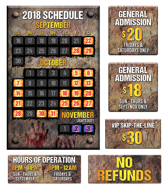 Full hours of operation and ticket prices for HUSH Haunted Attraction.