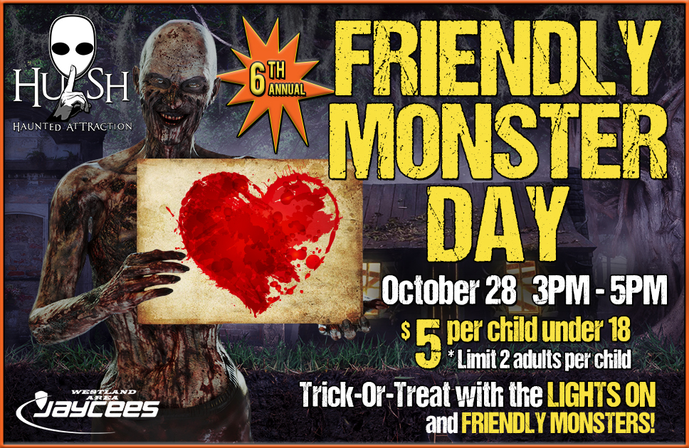 Friendly Monster Day is on Sunday, October 28 from 5pm to 7pm. Children can trick or treat through the haunted house with the lights on and meet friendly monsters. The price is $5 per child. Limit 2 adults per child.