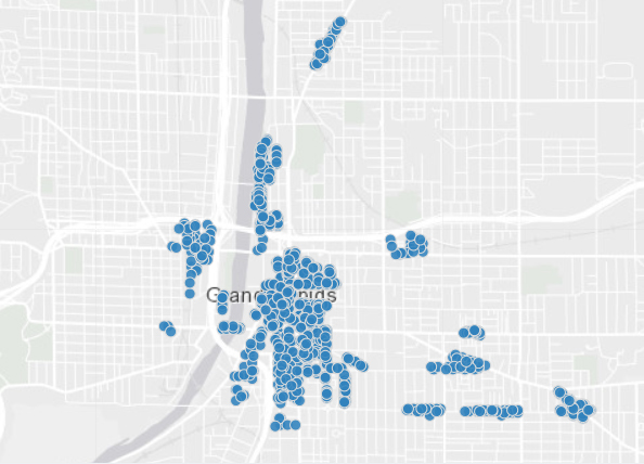 Parking meter locations in Grand Rapids.