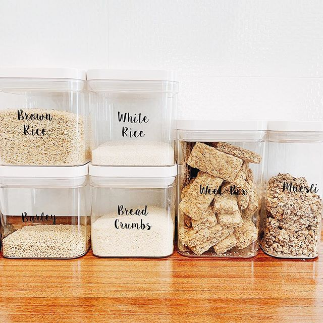 "How cute are these labels from @thelabelledhome I have used on these @kmartaus containers • This is called ""Font 9"""
