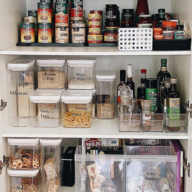 Pantry goals • Before & After thank you @thelabelledhome for coming in a labelling all my pantry goods and @thehappyhomeco__ for organising it!!! Now it's got me in the organising mood to do the rest of my home 😘 all containers and tubs are from @kmartaus •  check out @thelabelledhome and @thehappyhomeco__ for details on winning yourself a full pantry makeover 🙌🏼 it will change your life
