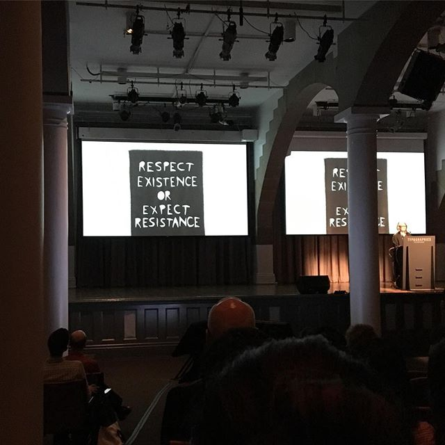 "Marlene McCarty on ""Resist Typography"" at @typographicsnyc (here: cut fabric lettering)"