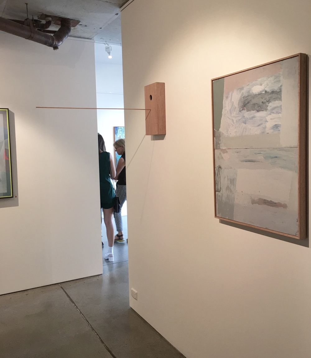 Install shot at Edwina Corlette Gallery. Sally Anderson What I Told You, What I Didn't Tell You (on right), Dan Hollier Bird House #1 (A Home For the Paradise Parrot) (on left).