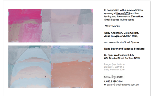 New Works Exhibition opening at Small Spaces — SALLY ANDERSON