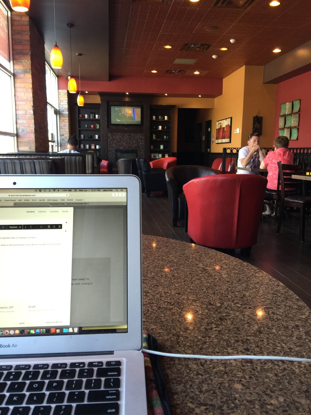 My view as I write at Coffee Culture