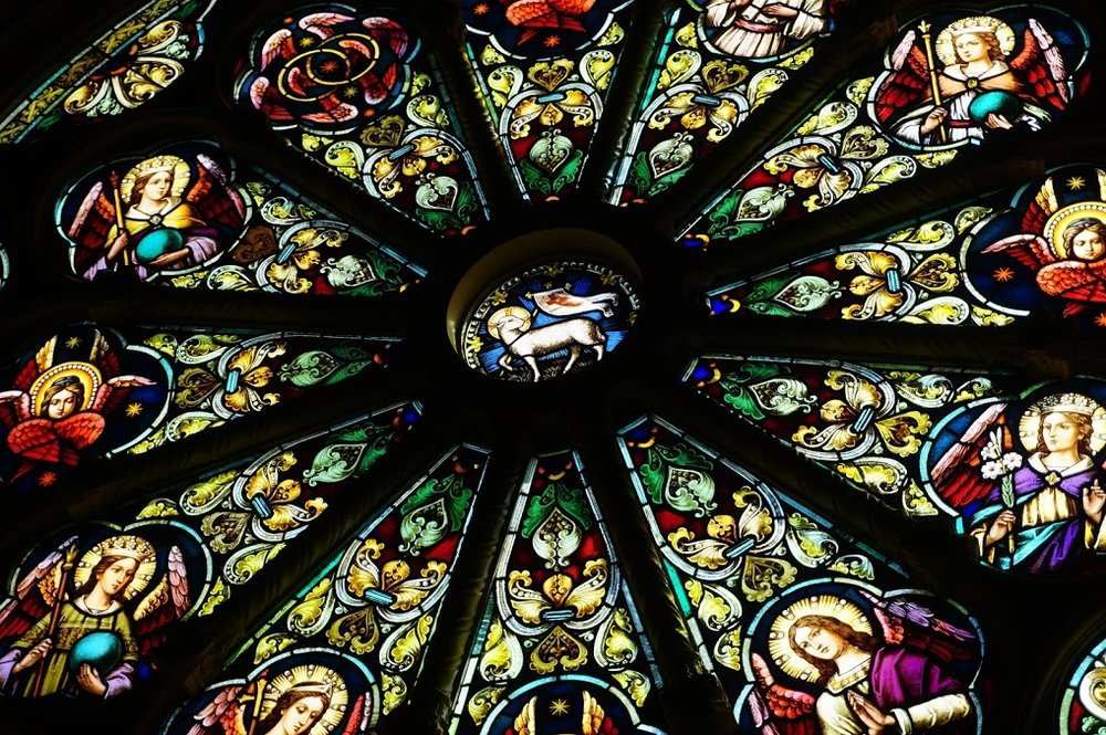 A Detail Of The Rose Window: The Twelve Angels Around The Periphery Symbolize The Twelve Apostles And Twelve Tribes Of Israel