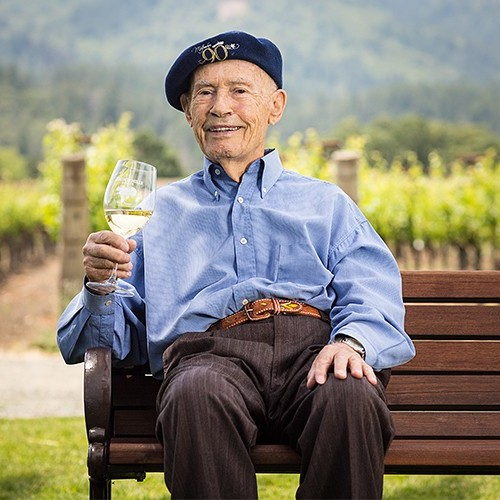 Legendary winemaker Mike Grgich poses at the estate on his 90th birthday