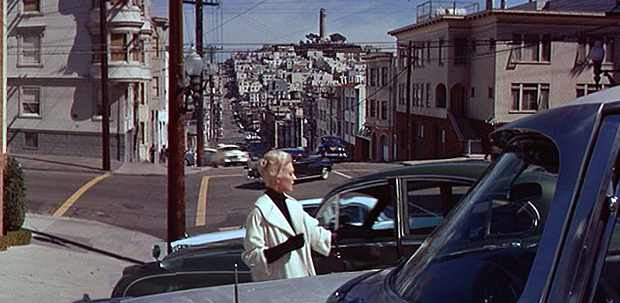 Madeleine (Kim Novak) Visits The Neighborhood In Alfred Hitchcock's Vertigo