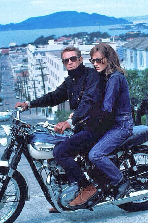 Steve McQueen and Jacqueline Bisset During The Filming Of Bullitt (courtesy of http://neoretro.tumblr.com)