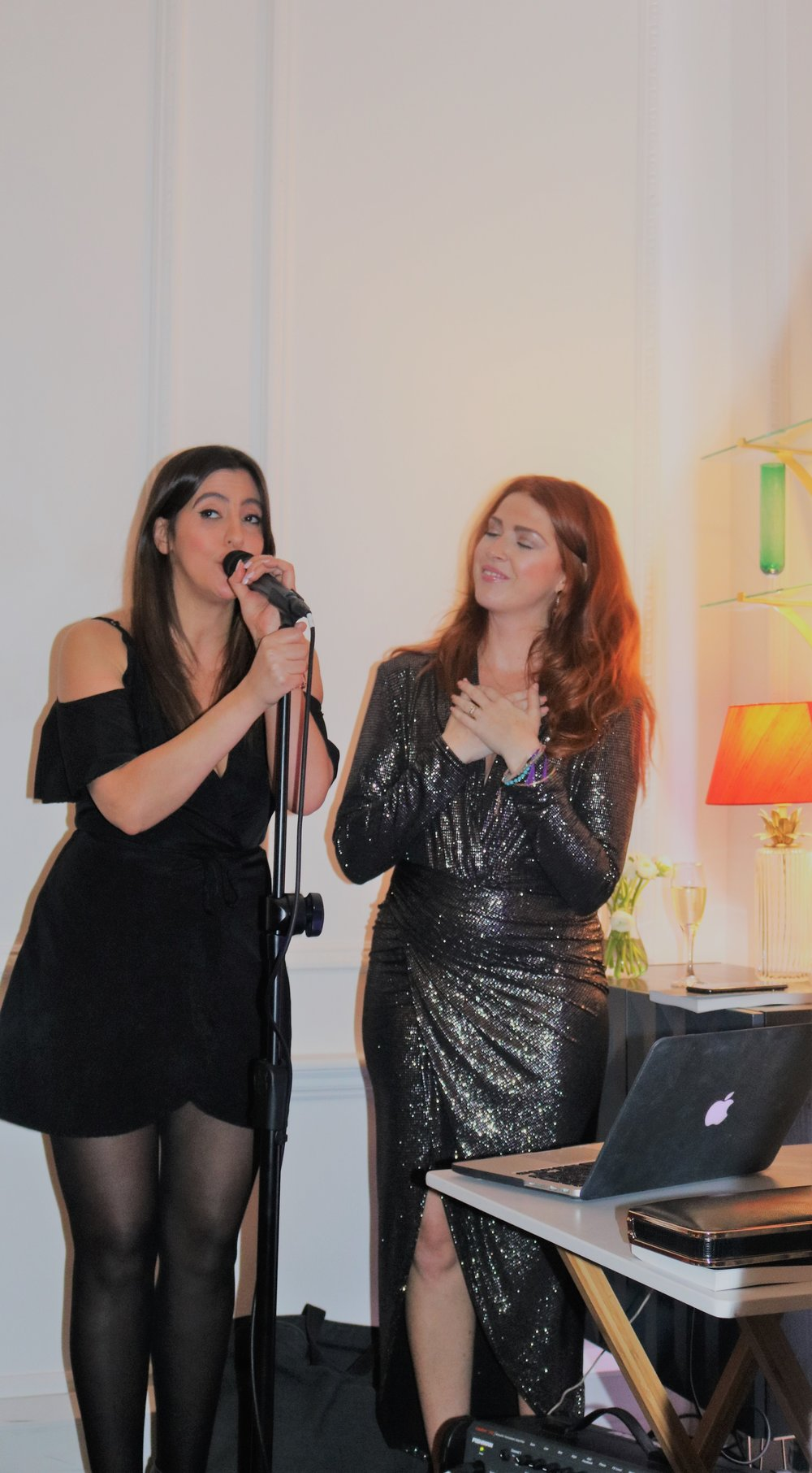 Westend Vocalist Sabrina Alouche and Jennifer Hardie (Curator) performing a duet together