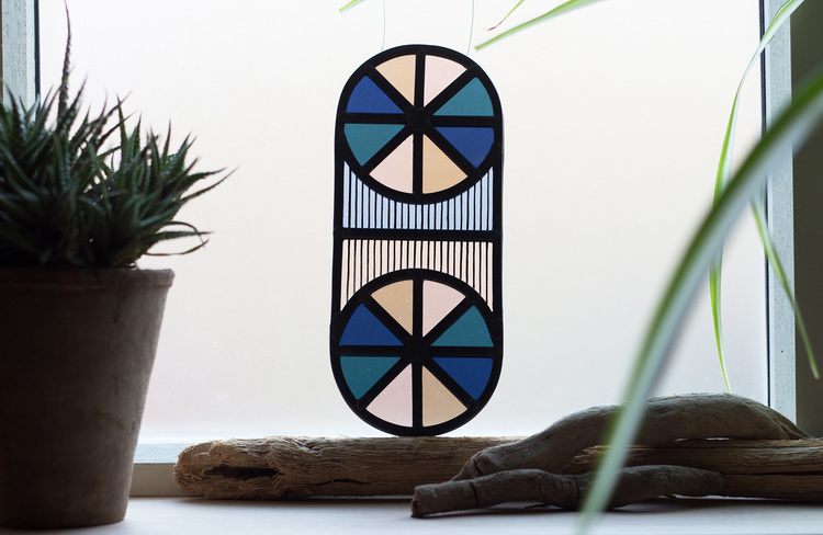 Loop d Loop - a series of contemporary stained glass pieces by Flora Jamieson and Vicki Turner.