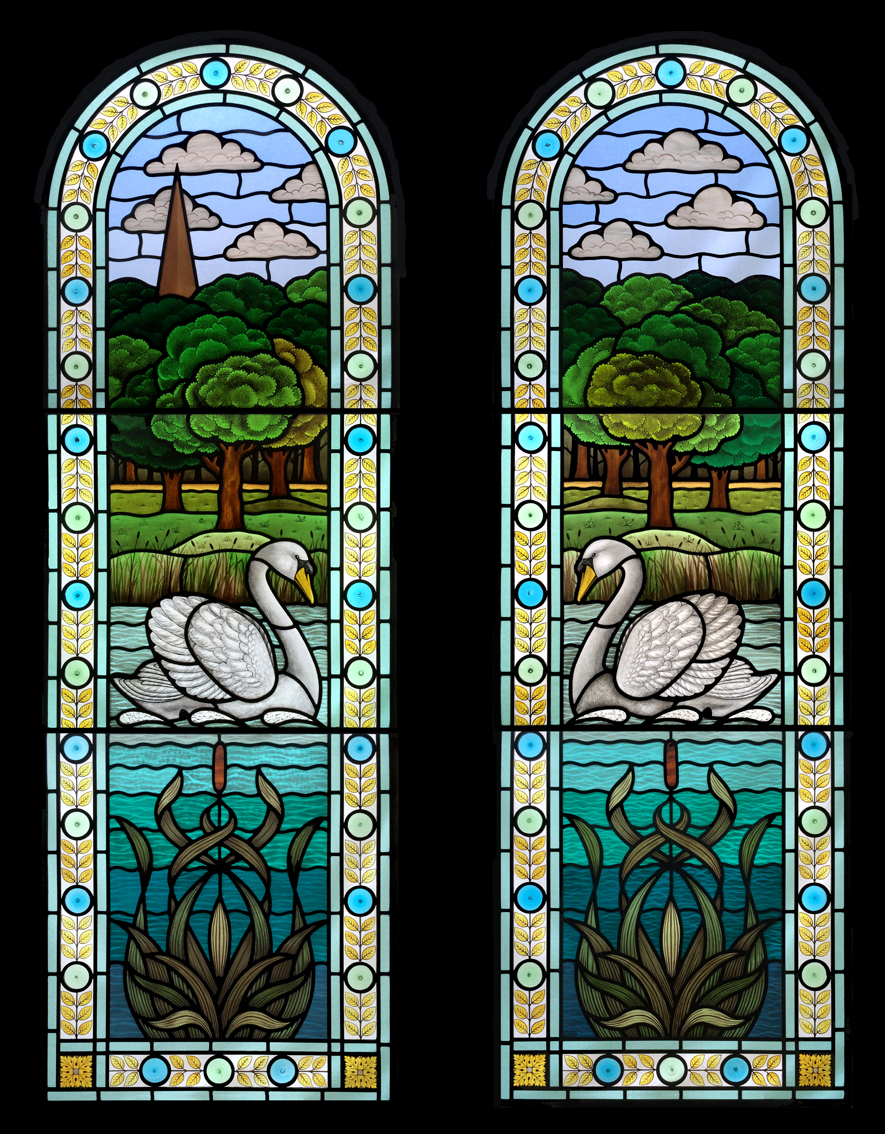Swan and Pond Arched Windows