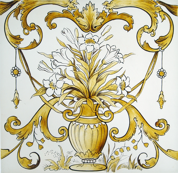 Ornate stained glass vase with flowers
