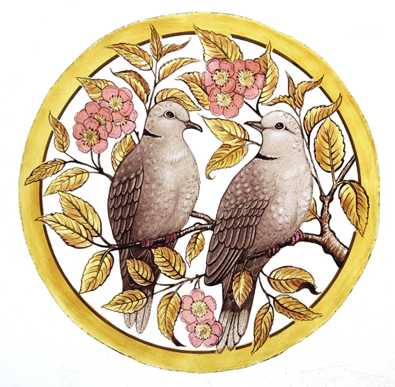 Stained Glass Collared Dove Roundel