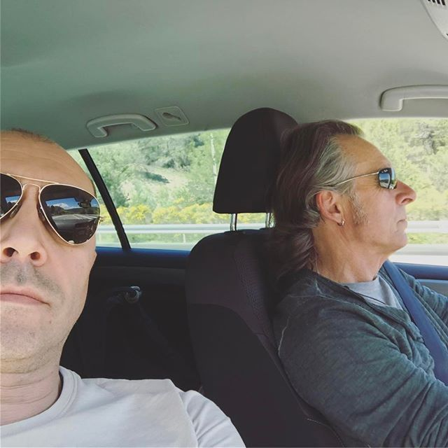 Me and the Boss driving in France for tonite show in duo!