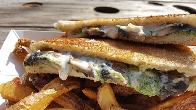 Come try our new #weeklyspecial the #bello - carmalized onion bacon gouda spread, kale pesto, and grilled portobello mushrooms. #ictfoodtrucks #ictpopuppark #fancygrilledcheese
