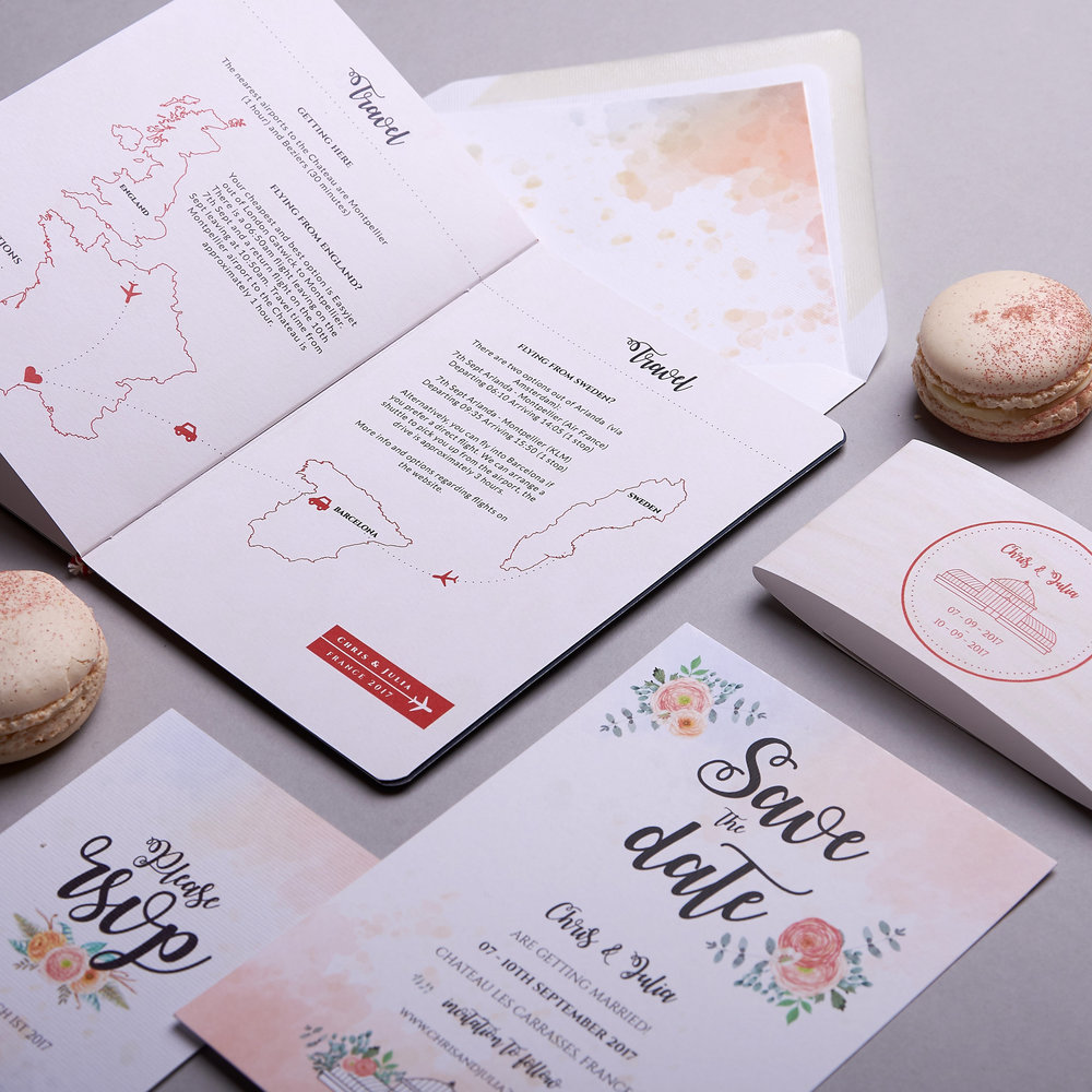 16 page folded passport booklet for Julia & Chris's French destination wedding!