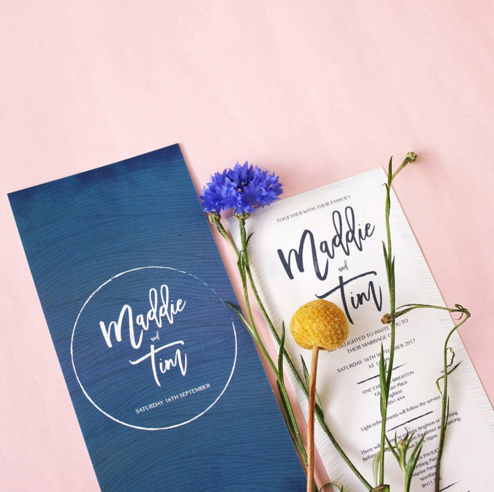 Maddie & Tim's Art Deco vibe DL invitations