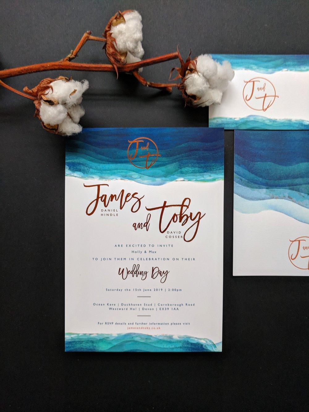 James & Toby's Devon sea themed invitations with copper foil