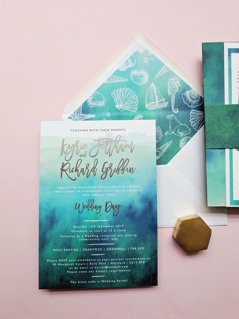 Kyrie & Richard's Cornish beach themed invitation suite