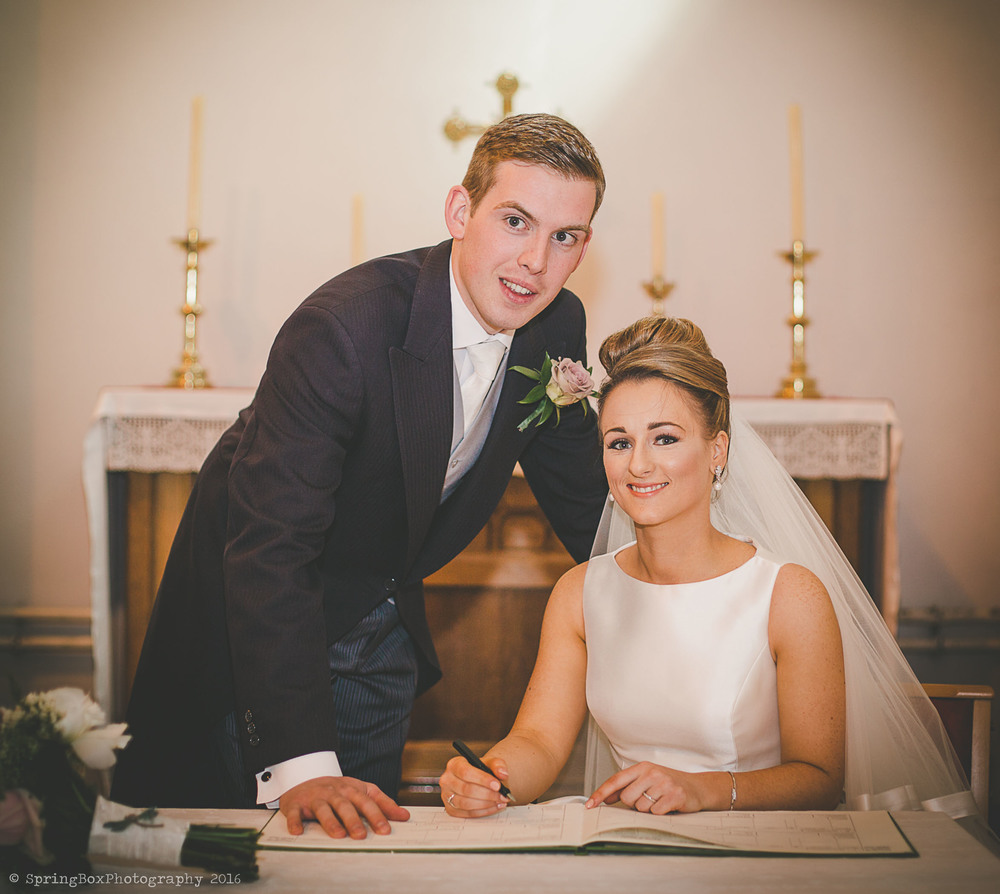 Signing the marriage register at St Tydfil's old parish church