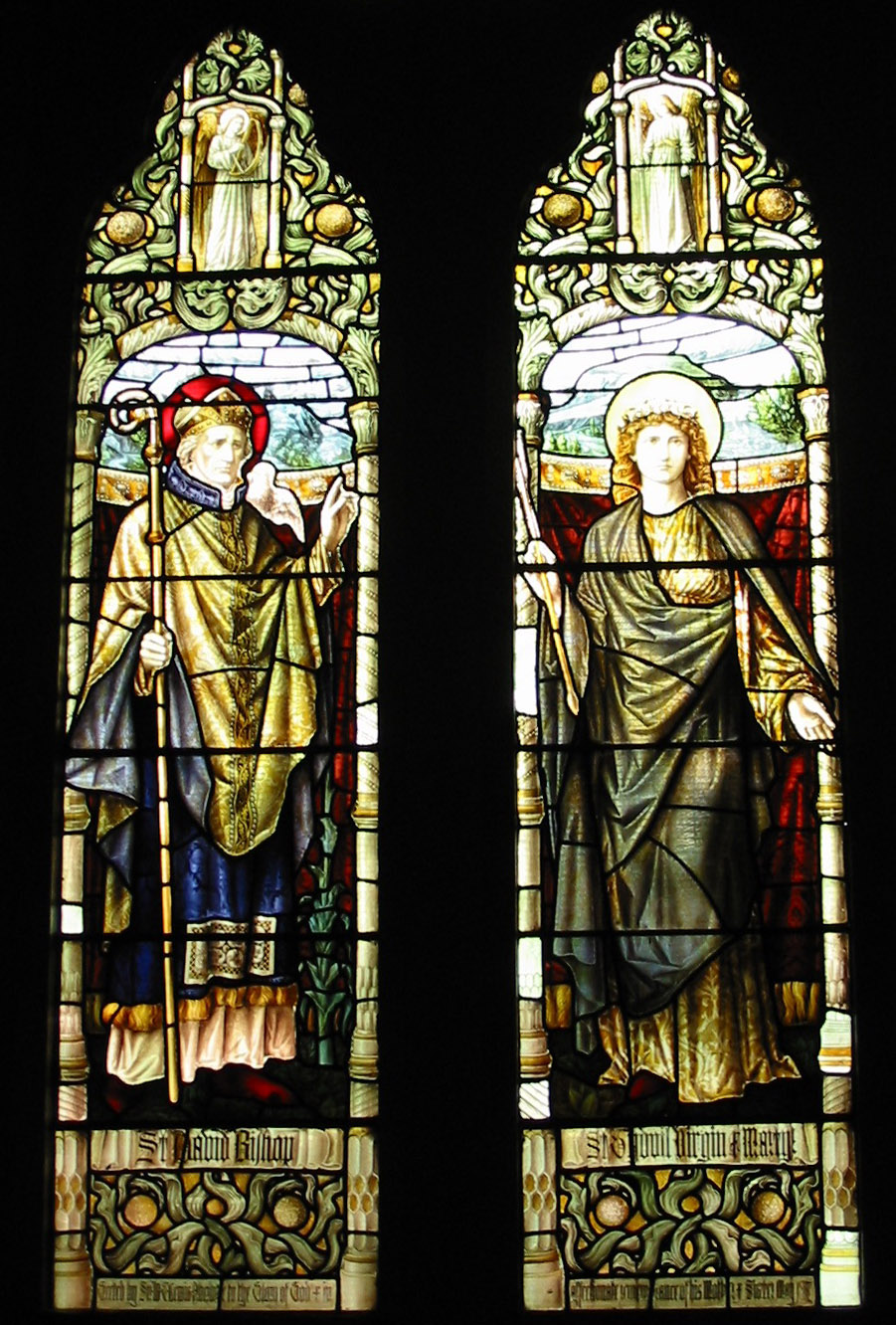 St David and St Tydfil in stained glass at St David's Parish Church