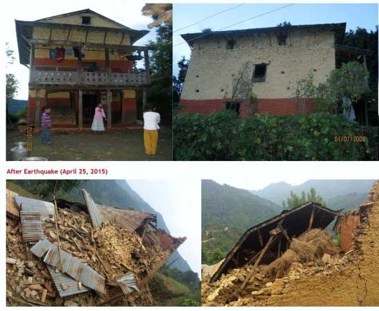 Dipak's House Before and After the Earthquake