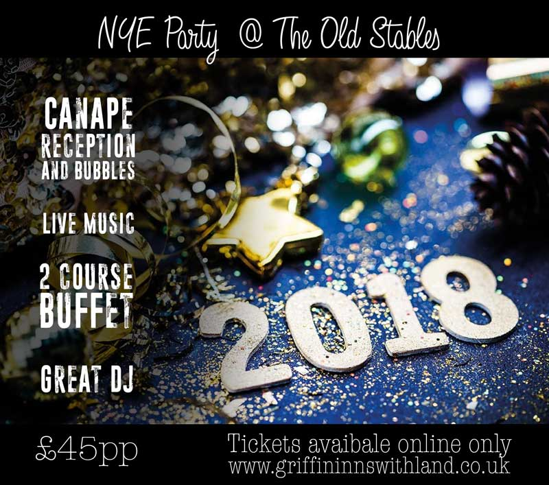 New Year's Eve 2017 - End the year in style at our great big New Year's party at the Old Stables.Canapes and bubbles on arrival with live music followed by a two course buffet and dancing.