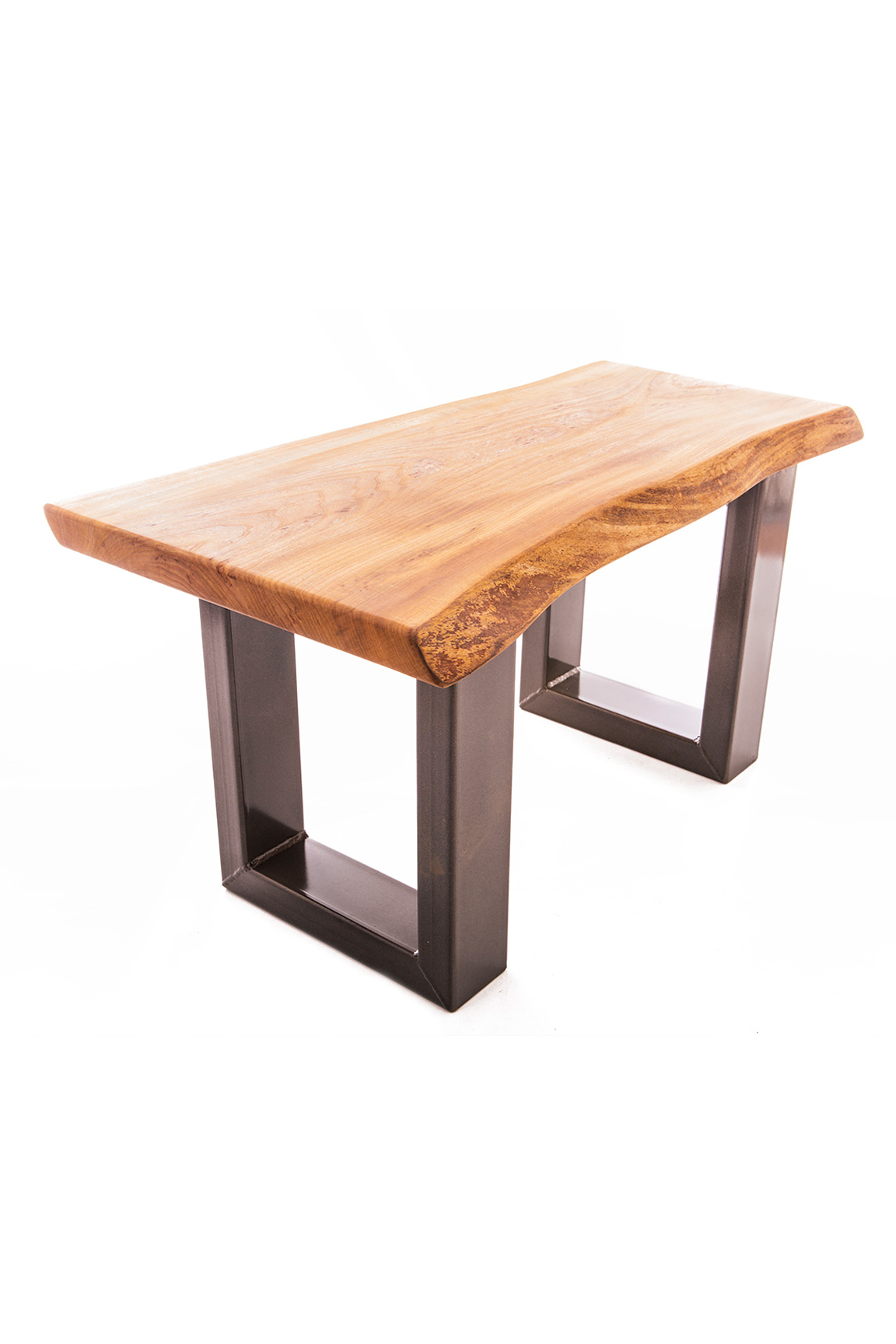 Live Edge Elm Coffee Table on Chunky Box Steel Legs — Paul Frampton