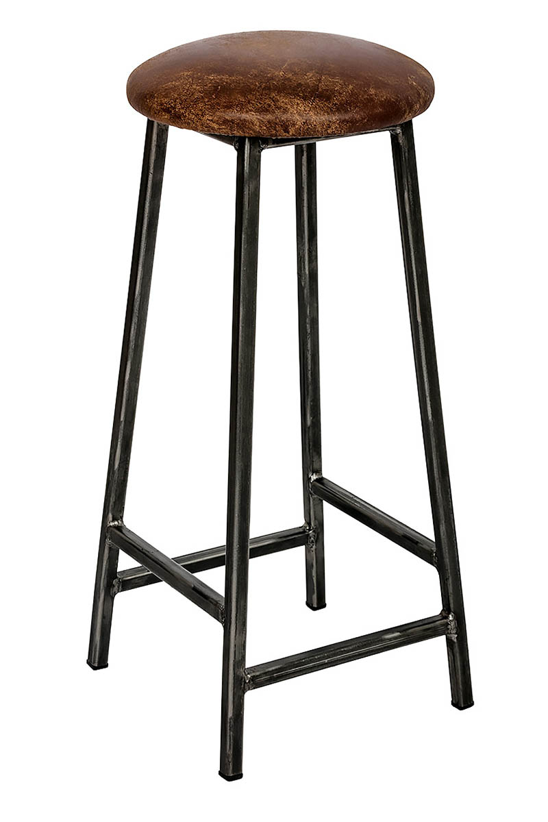 bertie tanner steel frame industrial bar stool with leather seat