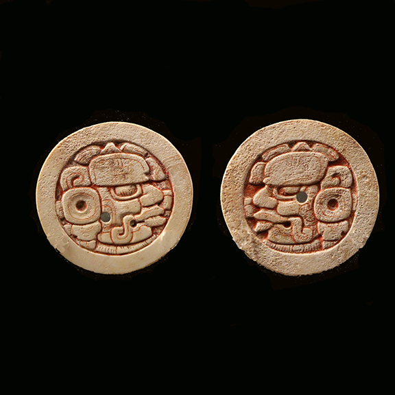 C005 Maya Carved Shell Disks with Cinnibar