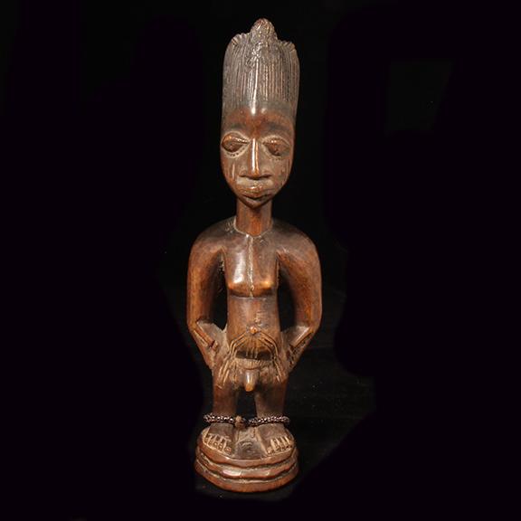 """0003 Yoruba Ibeji twin figure, Igbomina, Nigeria, 1st half 20th century, Ht. 11"""" $250"""